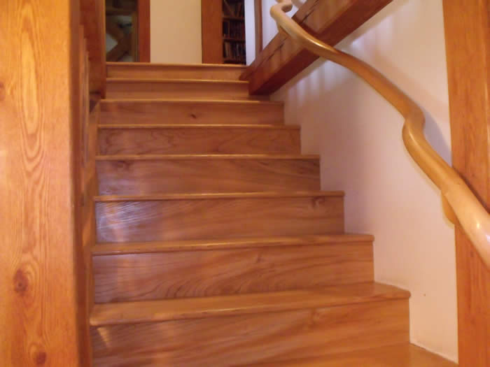 Elm stairs in Oak Timber Frame home