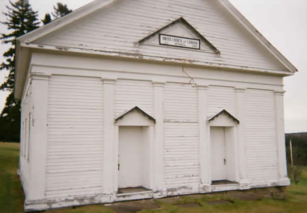 Front view of the Timber Frame Heritage Timber Frame Church for sale
