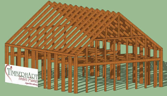 heritage timber frame_3d