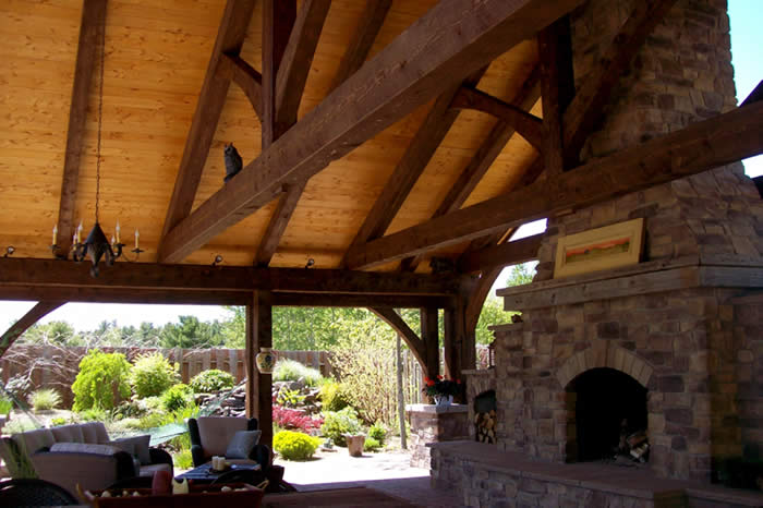 Inside the Timber Frame Outdoor Kitchen