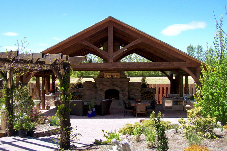 Timber frame outdoor kitchens for Outdoor kitchen roof structures