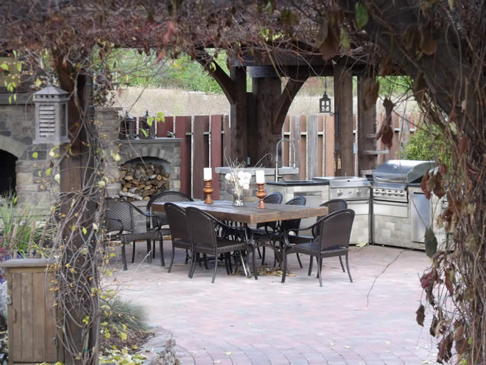 Outdoor Timber Frame Kitchen in the Fall