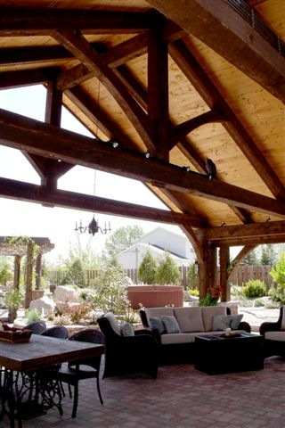 Timber Frame Outdoor Kitchen Trusses