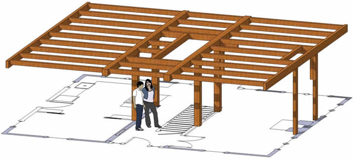 3D Model Hybrid Timber Timber Frame with Timber Ceiling Joists