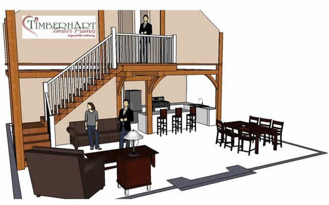 3D Model of the Timber Frame Stairs
