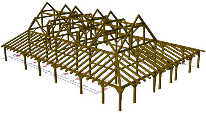 3D Model of the Timber Frameincluding the porch