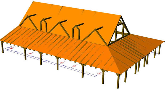 3D Timber Frame model with Porch and roof