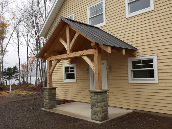 Spruce Timber Frame Cottage With A Cedar Entry Way