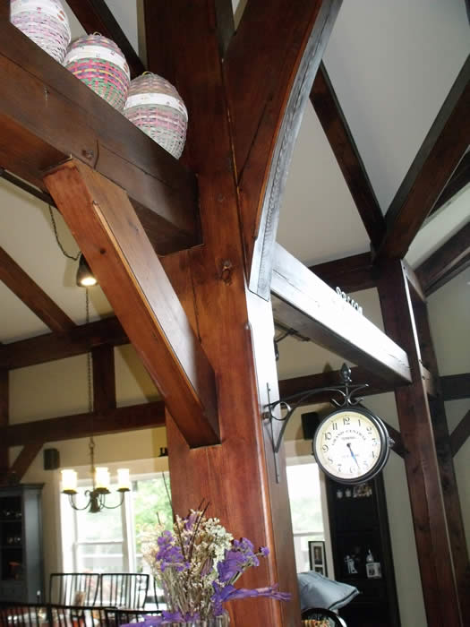Close up of a Timber Frame post in the kitchen