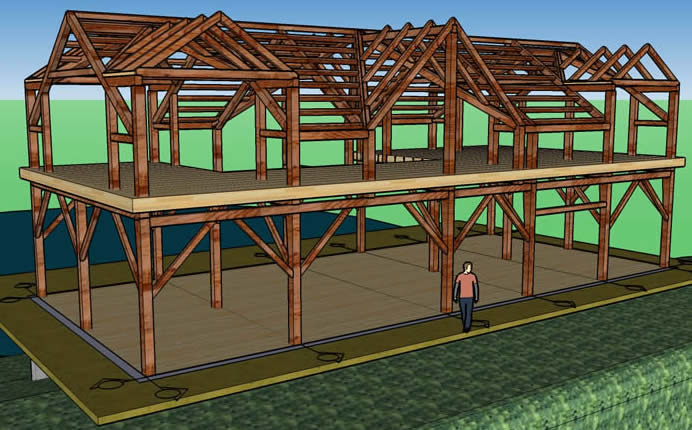 Colored 3D Model of Timber Frame
