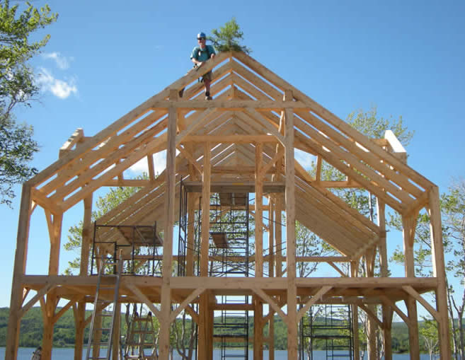 Completed Raising of the Spruce Timber Frame