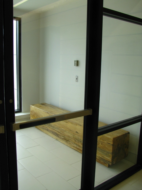 Elm benched in entry way