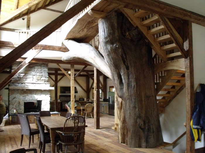 Heritage timber frame great room and living room
