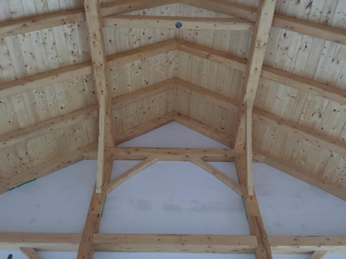 Install of the Spruce Ceiling Trusses