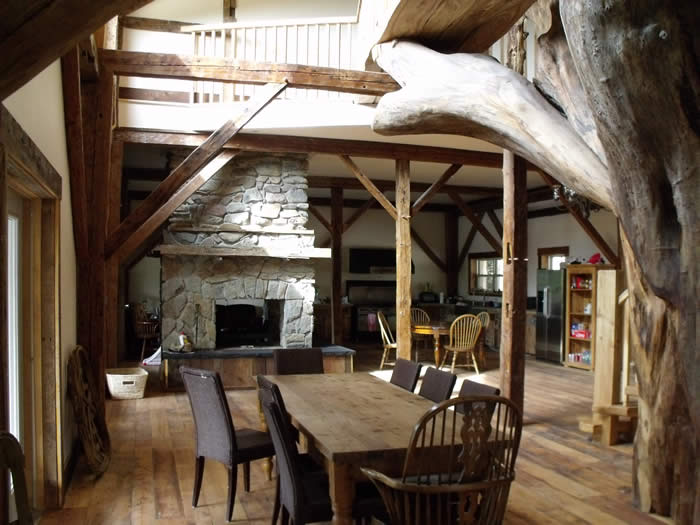 Reclaimed Heritage timber frame great room