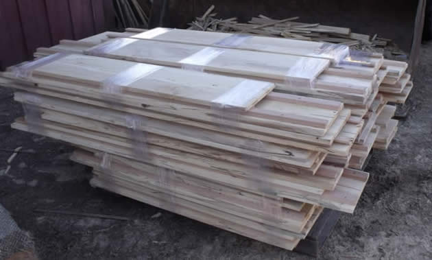 Straight elm panels ready to ship