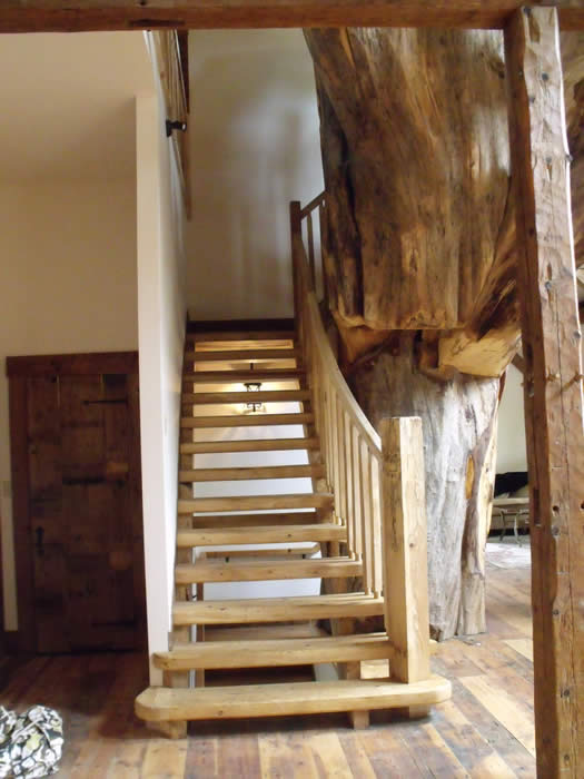 The elm stairs and tree base heritage timber frame