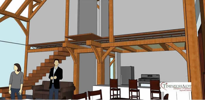 Timber Frame 3D looking at the Kitchen