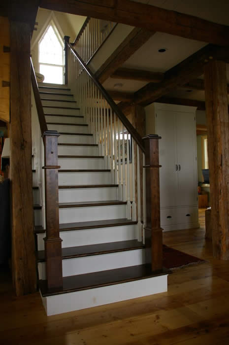Timber frame stairs to landing