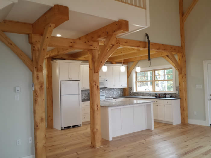 View of the Kitchen in the Spruce Timber Frame