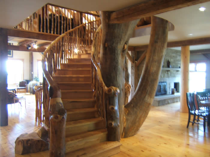 Tree incorporated into staircase