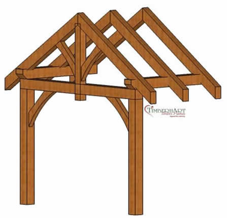 3D Model of the Timber Frame Entry way King post with wind struts