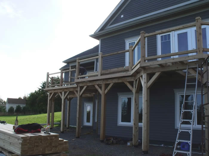 The timber Frame cedar deck