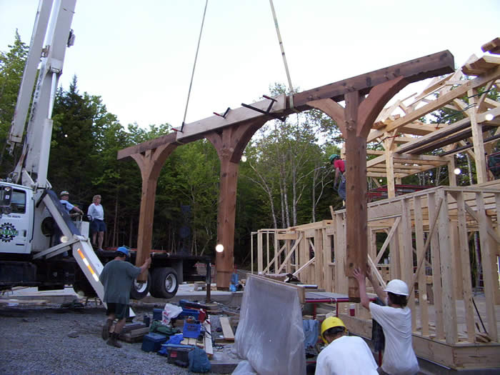 Cedar Timber Frame Porch Entry with Curved Braces