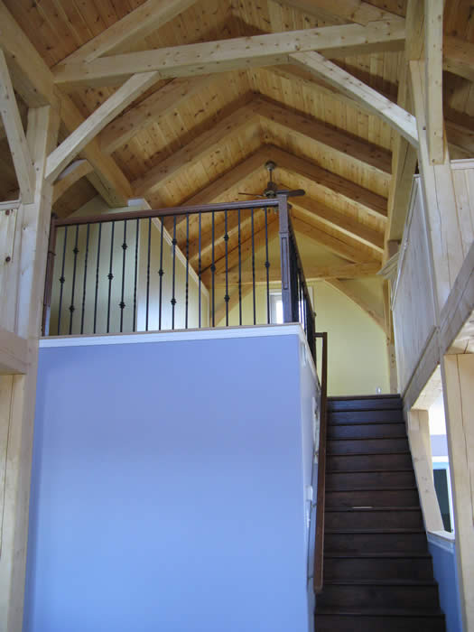 During Construction Spruce Hybird Timber Frame