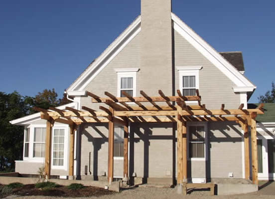 Front view of the Timber Frame pergola