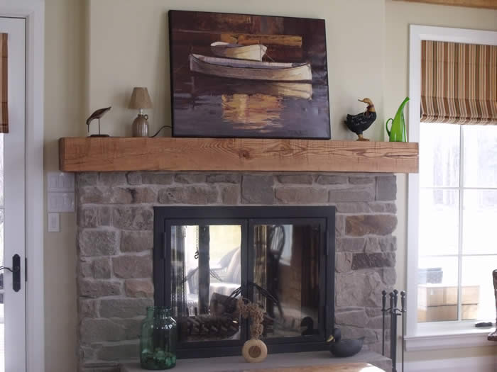 Hand hewn oak mantle