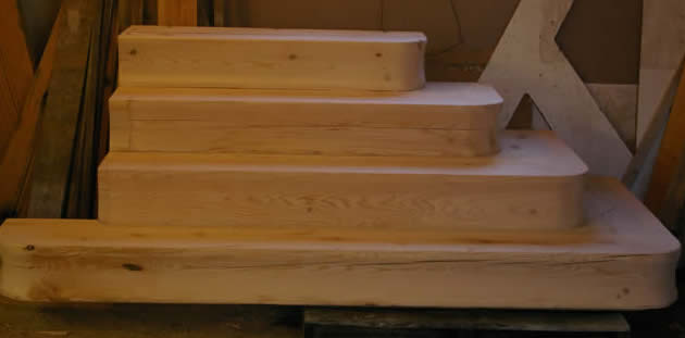 Hemlock Stairs for the Oak Timber Frame
