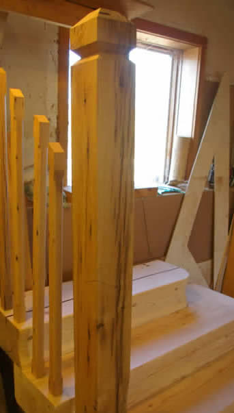 Oak New Post & Spindles for the Hemlock Stairs