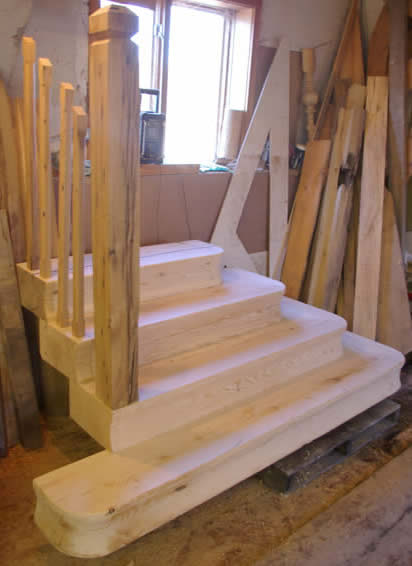 Oak Newel Post & Spindles for the Hemlock Stairs