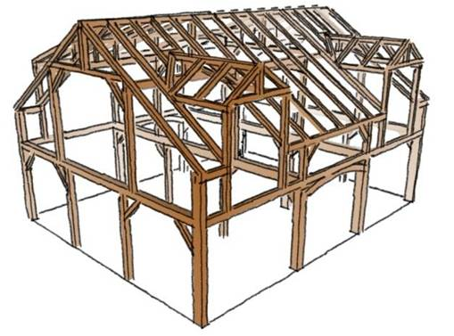 Oak Timber Frame for Sale (Ready to ship)32'x40'_1 5 StoryCape