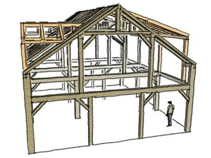 Oak Timber Frame For Sale Ready To Ship 32 X40 1 5 Storycape