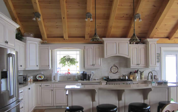 Pineandcedartimberframehome capebreton for Timber frame kitchen