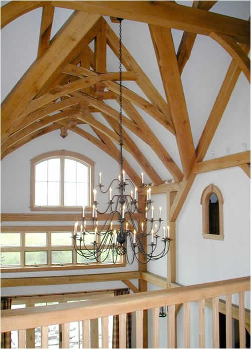 Scissor trusses with king post