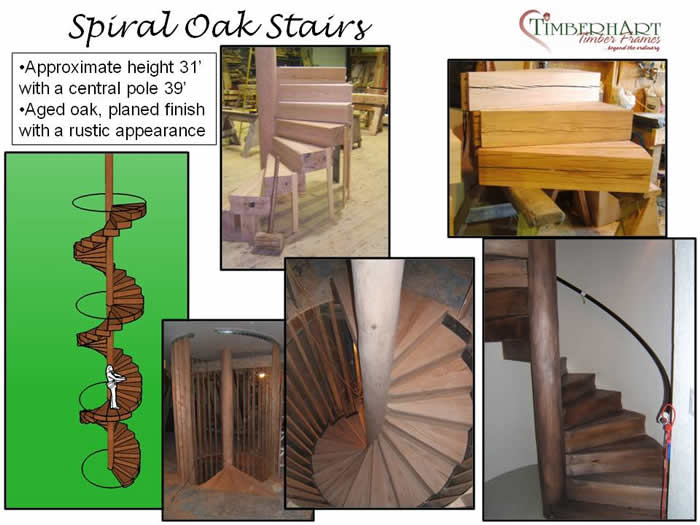 Spiral oak stairs that incorporated a tree as base