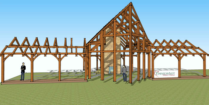 Timber Frame 3D model front view, prow timber frame
