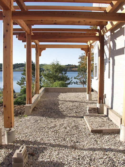 Timber Frame Pergola view of the water