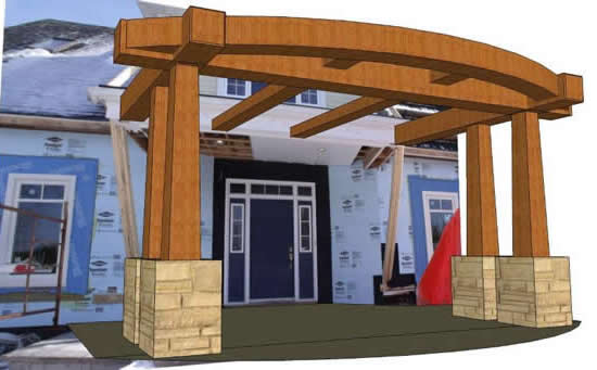 Timber Frame_3D Front Entry with the house photo