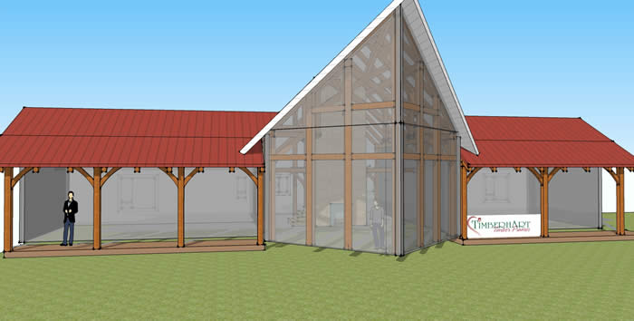 Timber Frame front with roof 3D model, prow