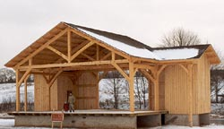 timberhart woodworks - riverside covered timberframe stage