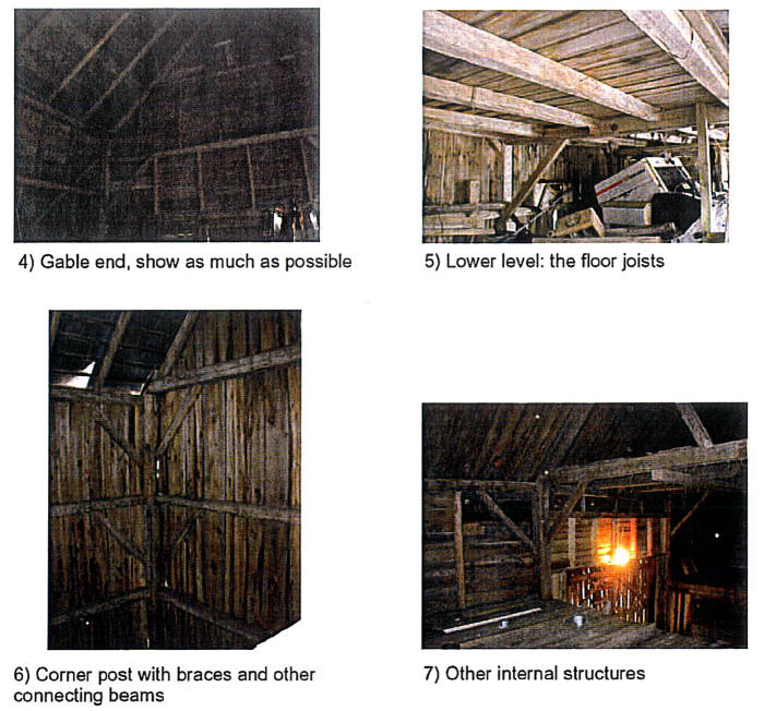 Photos to take of the interior of the timber frame building