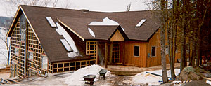 "Timber framing - Unassuming from the front - ""Wait until you get inside!"""