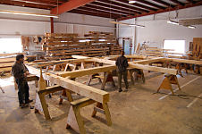 Timber frame in shop