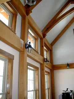 Timber framing - Cathedral ceilings provide lots of wall space for natural window lighting
