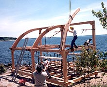 Timber Framing  - Installing the curved rafters
