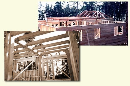 Timber framing - Incorporating a timber frame with a conventionally framed house